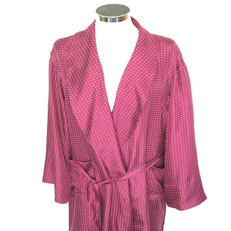 Silk Dressing Gown Polka Dot Wine